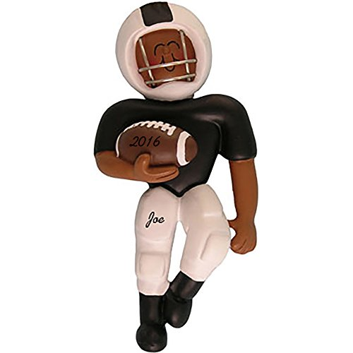 - Football Player - Black Uniform - African American - Personalized Christmas Ornament - Handpainted Resin - 4.5