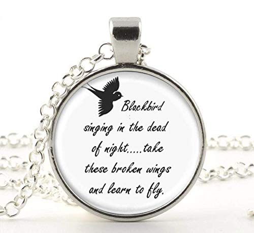Blackbird Singing in The Dead of Night Necklace Pendant, Song Lyrics Art Jewelry Charm Jewelry