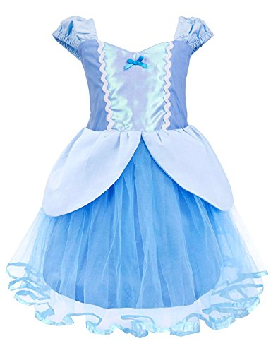 Princess Cinderella Rapunzel Little Mermaid Dress Costume for Baby Toddler Girl (3T, Cinderella) -