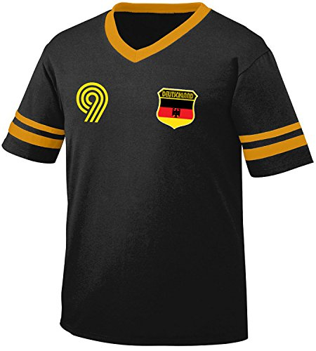 Deutschland Germany Soccer Style Crest and Number Men's Retro Soccer Ringer T-shirt, Amdesco, Black/Gold - Shirts Football Retro Shirt