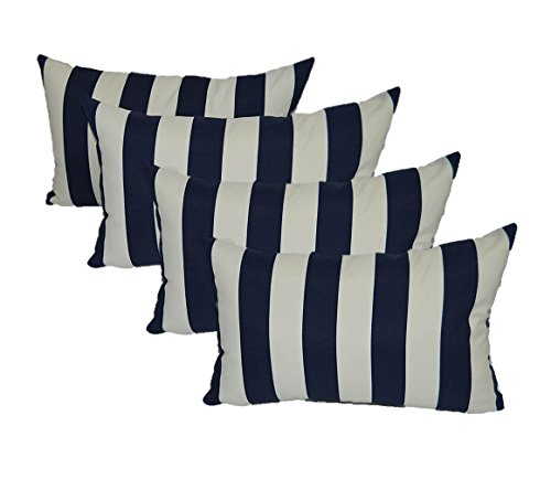 Set of 4 Indoor / Outdoor Decorative Lumbar / Rectangle Pillows - Navy Blue and Ivory Stripe by Resort Spa Home Decor