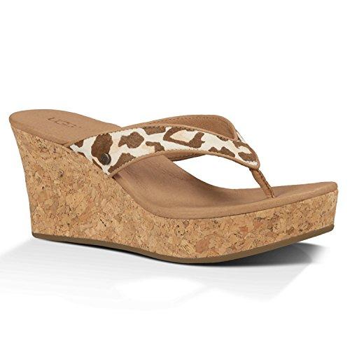 UGG Women's Natassia Calf Hair Leopard Sandal Spring Leopard Size 8 B(M) US (Leopard Ugg)