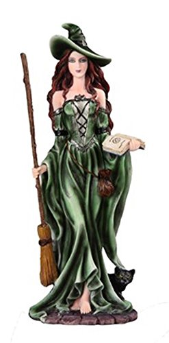 StealStreet SS-G-91909, 10.75 Inch Witch with Broom/Book Collectible Figurine-Green