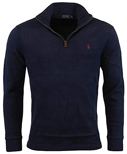 (Polo Ralph Lauren Men's Big & Tall Fleece 1/2 Zip Mock Sweater-Navy-XLT)
