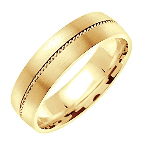 18K Yellow Gold Braided Rope Edge Men