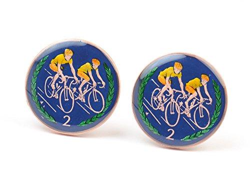Commemorative Cufflinks - Isle of Man Cufflinks - enamel coins- Big size cufflinks ISLE OF MAN 1997 Commemorative Bicycle Racing 2 Pence Coin.Big Size Coin 29mm