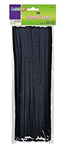 Creativity Street Chenille Stems/Pipe Cleaners 12 Inch x 6mm 100-Piece, Black