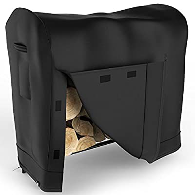 Elite Flame 4 Foot Indoor Outdoor Black Water Resistant Firewood Log Rack Cover