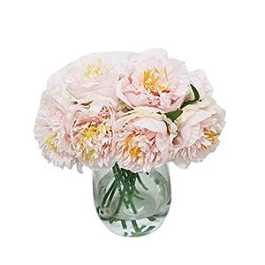 Artificial Flowers Fake Flowers 5 Heads Peony Flowers Short Stem Bouquet for Home Garden Xmas Party Wedding Flower Arrangement Shops Grave Decor 1