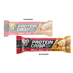 BSN Protein Crisp Bar by Syntha-6, Low Sugar Whey Protein Bar, 20g of Protein, Peanut Butter Crunch, 12 Count (Packaging may vary)