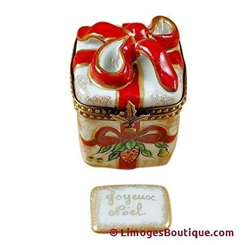 (RED RIBBON CHRISTMAS BOX W/PLAQUE - LIMOGES BOX AUTHENTIC PORCELAIN FIGURINE FROM FRANCE)