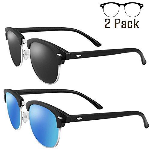 Price comparison product image LIVHO G 2 Pack of Polarized Sunglasses Women Men Semi Rimless Frame Retro Classic Sun Glasses (Black Grey+Navy Blue)