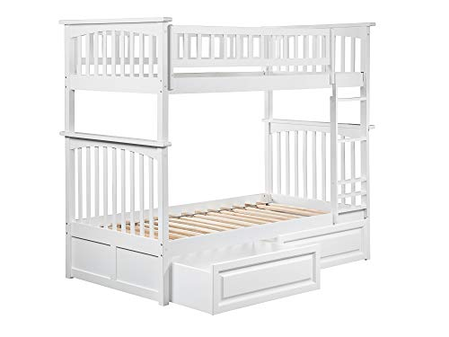 Atlantic Set Bunk Bed - Atlantic Furniture AB55122 Columbia Bunk Bed with 2 Raised Panel Bed Drawers, Twin/Twin, White