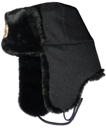 Navy Insignia Cap (Ushanka winter hat Russian Navy Seaman Black-60 , Soviet Navy officer insignia)