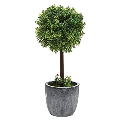 Decorative Tabletop Green Artificial Topiary Tree Plant with Round Gray Ceramic Planter Pot - MyGift