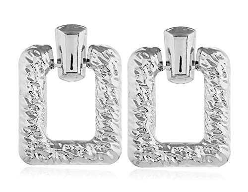 WXART Square Vintage Earrings and Geometric Plated Metal Ear Studs Statement Dangle Jewelry of Trendy Party Funk Accessories for Women (Silver)