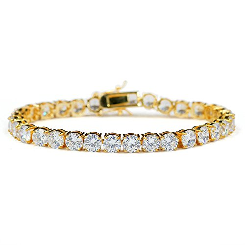 JINAO 1 Row AAA Gold Silver Iced Out Tennis Bling Lab Simulated Diamond Bracelet 8