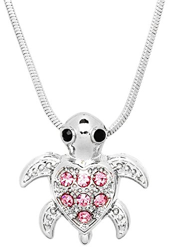 Small Heart Shaped Sea Turtle Charm Pendant Silver Tone Necklace Fashion Jewelry Gift (Pink)