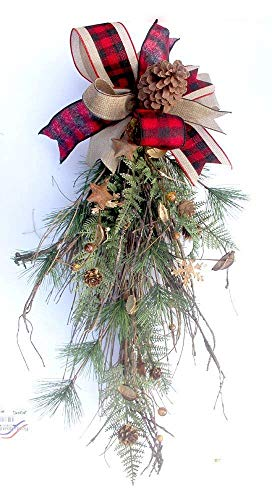 - Rustic Christmas teardrop swag for front door, berries and pinecones teardrop, home decor, plaid bow, natural Christmas decor