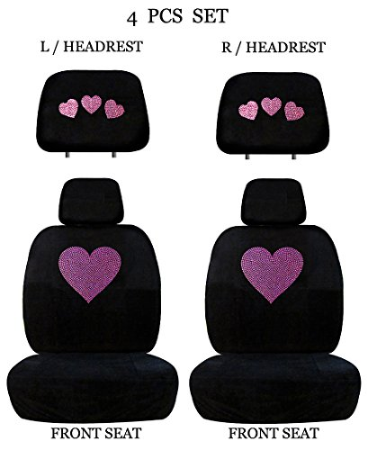 ALLBrand Universal Fit Front 4-Piece Full Set Crystal Bling Rhinestone Studded Low Back Front Bucket Seat Cover with Separate Headrest Cover (Red Heart/Black) ()