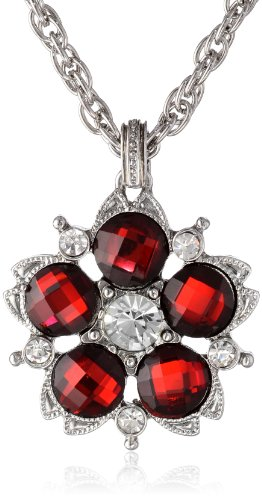 """1928 Jewelry 1928 Red Jeweltones"""" Silver-Tone Siam Red an..."""