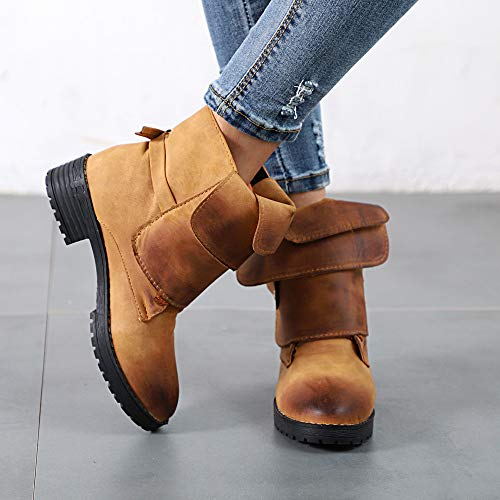 Biker Women Leather Ankle Cowboy Shoes Buckle Martin Leather Booties Clearance Yellow Shoes Off Knight Boots With Brush OverDose Ankle Boot Ladies xEw8t1ppOq