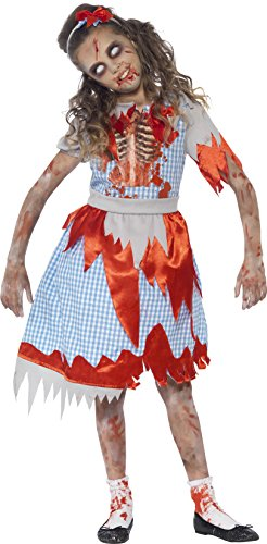 Country Girl Halloween Costume - Smiffy's Children's Zombie Country Girl Costume, Dress, Skeleton Detail &