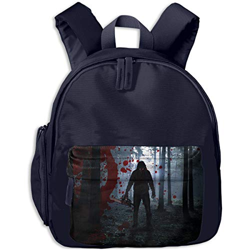 Scary Halloween Man With Bloody Forest Chainsaw Children Backpack Pocket Zipper Outdoor Travel School Book Bag