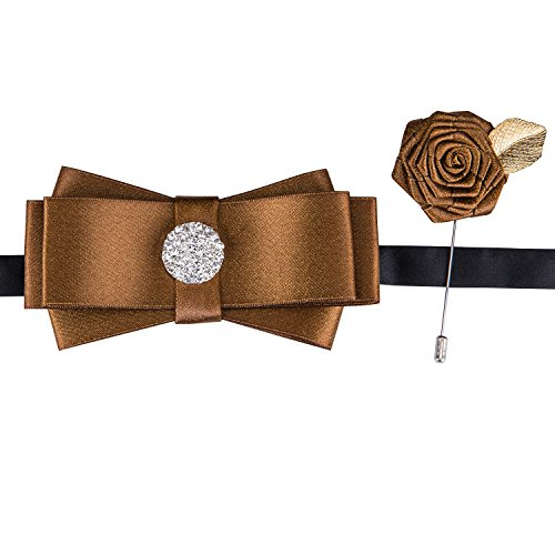 Ribbon Tie Men Brooch Pin Pre-Tied Bow Tie Luxury Crystal Brown Necktie Wedding Set