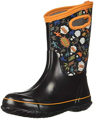 Bogs Classic High Waterproof Insulated Rubber Neoprene Rain Boot Snow, Super Hero Black/Multi, 1 M US Little -