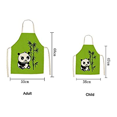 GLBS Parent-Child Kitchen Lovely Cartoon Panda Pattern Painting Kids Apron Adult Household Cleaning Tools Back Strap Design Children's Smock (Color : 2, Size : Child): Home & Kitchen
