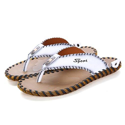 Tda Pojkar Mens Casual Läder Sommar Strand Tofflor Flip Flops Vit