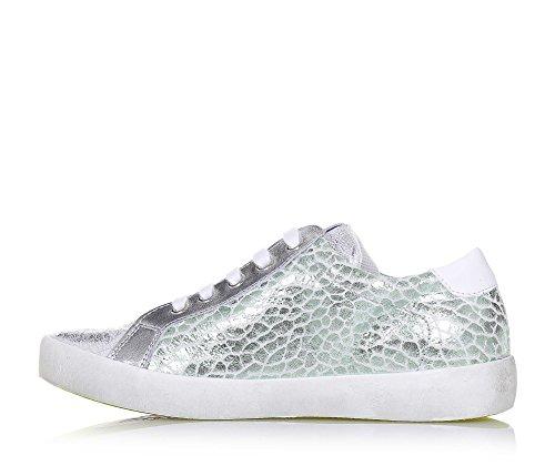 W6YZ - Silberner Schuh mit Schnürsenkeln aus Leder, seitlich grüne Nuancen, auf der Zunge und seitlich ein Logo, Mädchen, Damen