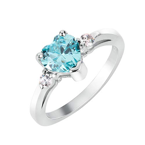 (CloseoutWarehouse Simulated Aquamarine Cubic Zirconia Heart Promise Ring Sterling Silver Size 7)