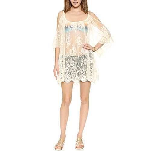 Women's Soft Lace Hollow Crochet Knitted Mesh Cover Up White Dress Tunic