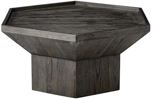 Amazon Brand Rivet Geometric Elm Wood Coffee Table, 43 W, Dark Grey Finish
