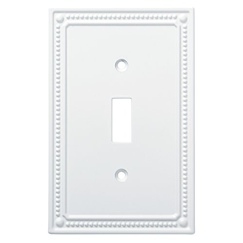 (Franklin Brass W35058-PW-C Classic Beaded Single Switch Wall Plate/Switch Plate/Cover, White)