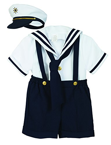 Luca Gabriel Baby Toddler Boys Nautical Sailor Short Suit Set with Hat, Navy/White, 2T]()