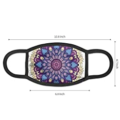 Comfortable Windproof mask,Flower Shaped Universe Chart With Color Contours Occult Esoteric Folk Image,Printed Facial decorations for Women and Men