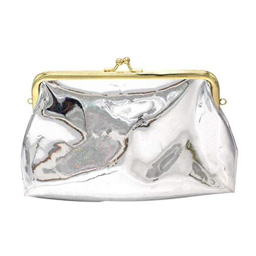 SOMESUN Women Wallet Sequins PU Soft Handle Portable Flip Versatile Chains Hasp Clutches Soft Transparent PVC Satchels ()