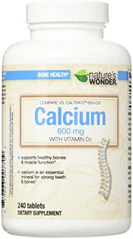 Nature's Wonder Calcium 600mg with Vitamin D3 800IU Tablets, 240 Count, Compare vs. Caltrate 600 + D3