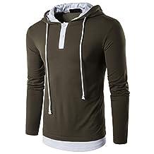 Men's Hooded T-Shirts Slim Fit Hoodies Long Sleeve Tops