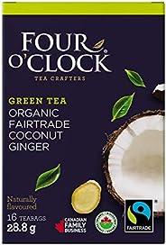 Four O'Clock Organic Fairtrade Green Tea Coconut Ginger, Non-GMO, Kosher, Gluten-Free, 16 Count, 2