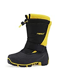 riemot Boy's Girl's Snow Boots Kids Winter Boots Waterproof Anti-Resistant Rain Boots Little Kid EU 28-35