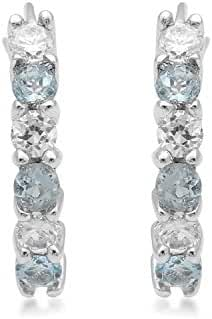 Jewelili Sterling Silver Aquamarine Round with Cubic Zirconia Hoop Earrings