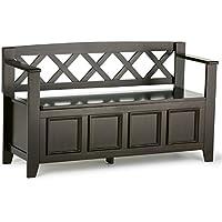 Simpli Home Amherst Solid Wood Entryway Storage Bench, Dark Brown