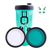 LAWOHO Dog Water Bottle Bowl 2 in 1 Travel Portable Leak Proof Dog Food Container Water Bottle 2 Collapsible Dog Bowls Walking Green