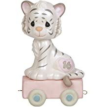 """Precious Moments 142036 Birthday Gifts, """"16 And Feline Fine"""", Birthday Train Age 16, Bisque Porcelain Figurine"""