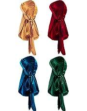 4 قطع من Tatuo من القطيفة Durag مع ذيل طويل ناعم من Durag ل360 موجة (أسود، أخضر، أحمر، أزرق ملكي)