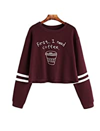 Women's/Teen Girls Casual Striped Sleeves Cute Sweatshirts Pullover Crop Top